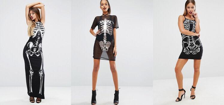 Skelletkleid Halloweenkleider