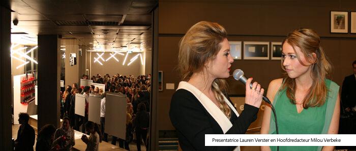 Lauren Verster en Milou Verbeke bij de F.A.L.L. Magazine lancering
