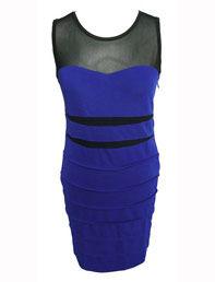 Dress Republic Mesh Bodycon Dress Electric Blue