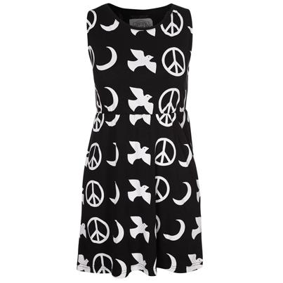 Zwart kleedje met witte print
