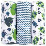 Emma & noah Hydrofiele doeken 3 stuks Bloemen blauw 80 x 80 cm