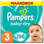 Baby Dry Luiers - Maat 3 (6-10 Kg) - 198 Stuks - Maandbox