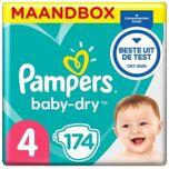 Baby-dry - Maat 4 (Maxi) 9-14 Kg - Maandbox 174 Stuks - Luiers