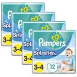 Splashers Zwemluiers Maat 3/4 - 4 x 12 Stuks Voordeelverpakking