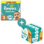 Baby Dry Luiers Maat 3 - 120 Luiers + Sensitive Billendoekjes - 12x52 Doekjes