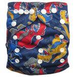 Wasbare luier - met luier inlegger / Pocket luier - / Dino Blauw