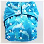 A06 AIO One Size wasbare Pocket luier dolfijn