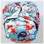 AN13 AIO Newborn wasbare Pocket luier vos blauw