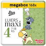 Woezel & Pip Luiers Maxi Maat 4 - 7-18 kg - Maandbox 168 stuks (3 x 56 stuks)