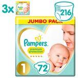Premium Protection Luiers - Maat 1 (2-5 kg) - 216 stuks - Jumbo Pack