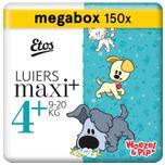 Woezel & Pip Luiers Maxi Plus Maat 4+ - 9-20 kg - Maandbox 150 stuks (3 x 50 st)