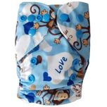 Wasbare luier New Born  / Pocket luier Fleece - met inlegger/ Aapje blauw