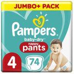 Baby-Dry Pants - Maat 4 (9kg-15kg) - 74 Luierbroekjes - Jumbo+ Pack