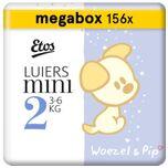 Woezel & Pip Luiers Mini Maat 2 - 3-6 kg - 156 stuks (3 x 52 stuks)