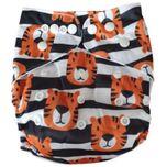 Wasbare luier  / Pocket luier Fleece - met bamboe inlegger/ Tiger