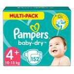 Baby Dry Luiers Maat 4+ (10-15 kg) 152 stuks