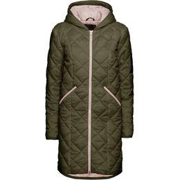 Lange, gewatteerde jas in twee kleuren