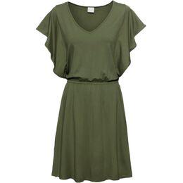 Jersey jurk met volantmouwen