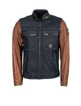 Winston Canvas Cotton Leather Blue Brown Jacket 2XL