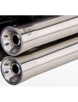 Double Groove compleet uitlaatsysteem met kattenhoogglans gepolijst roestvrij staal zilver, zilver