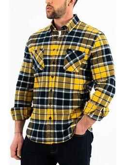 Reno Flanellen Overhemd, zwart-geel, afmeting XL