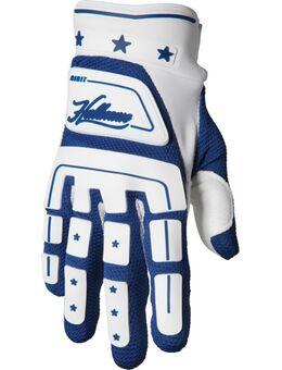 Hallman Digit Retro Motorcross handschoenen, wit-blauw, afmeting L