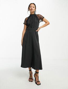 Midi-jurk met A-lijn en kant-Zwart