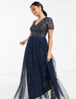 Lange bruidsmeisjesjurk van tule met V-hals en fijne lovertjes in dezelfde kleurschakering in marineblauw