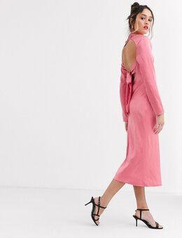 C/Meo - Satijnen midi-jurk met vierkante hals in roze