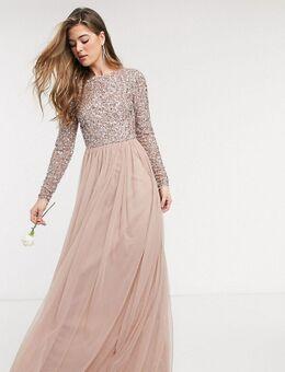 Lange tule jurk voor bruidsmeisjes met lange mouwen, V-rug en bovenlaag van verfijnde lovertjes in dezelfde kleurschakering in taupe-Bruin