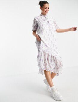 Midi-jurk met borststuk in vintage bloemenprint-Meerkleurig