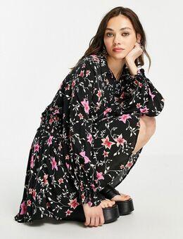 Lighten Up - Mini jurk met bloemen in zwart