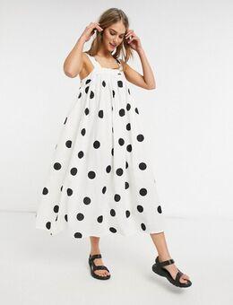 Lange jurk met A-lijn in oversized zwart-witte stippenprint-Meerkleurig