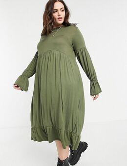 Maxi-jurk met plooien en uitlopende mouwen in kaki-Groen