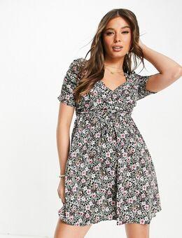 Nette mini jurk met overslag en bloemenprint-Zwart
