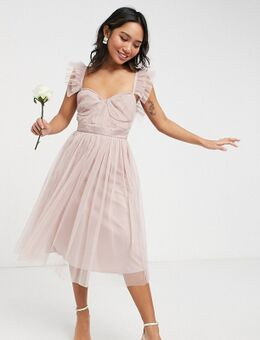 Anaya With Love Petite - Midi bruidsmeisjesjurk van tule met kapmouwtjes met ruches in roze