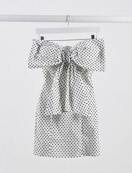 London - Gestipte mini-jurk met strik-Wit