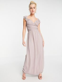 Lange jurk met versierde fladdermouwen en gedraaide taille in oestergrijs