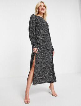 Midi-jurk met manchetten en print-Veelkleurig