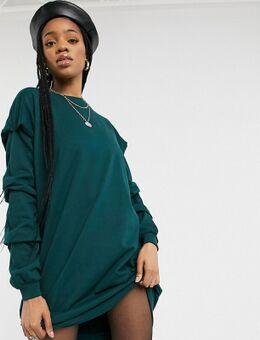 Oversized sweaterjurk in donkergroen-Grijs