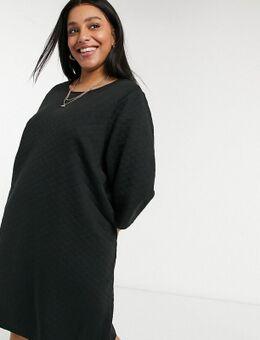 Doorgestikte mini-jurk met 3/4 mouwen in zwart