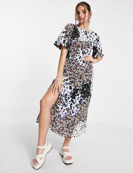 Nette midi-jurk in gemengde bloemenprint-Veelkleurig