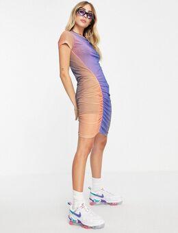 Darcy - Mini-jurk van gerecycled materiaal met rimpeleffect en ombre in meerdere kleuren-Veelkleurig