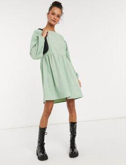 Aangerimpelde mini-jurk met lange mouwen van pastelkleurig corduroy-Groen