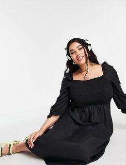 New Look Curve - Midi jurk met smokwerk en lange mouwen in zwart