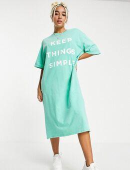 Zeer oversized midi T-shirtjurk met eenvoudige print in vintage wassing-Groen