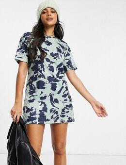 Tie-dye T-shirtjurk in marineblauw-Multi