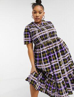 Plus - Aangerimpelde geruite midi-jurk van seersucker met kraag in verschillende kleuren-Meerkleurig