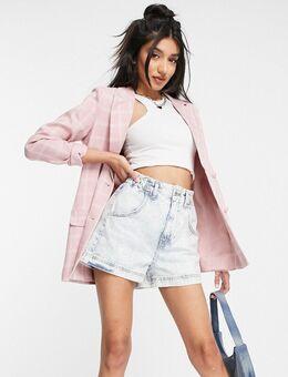 X Billie Faiers - Geruite blazerjurk in roze multi