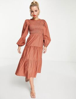 Gelaagde midi jurk van katoenen poplin in roestbruin met stippen-Oranje
